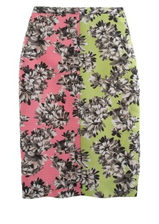 Collection photo floral mirror pencil skirt