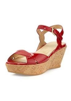 Stuart Weitzman Lockness Patent Wedge Sandal, Red