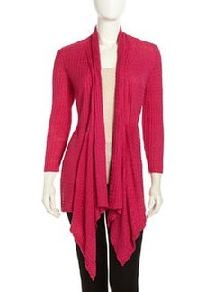 Lafayette 148 New York Open-Front Synched Waffle-Knit Cardigan, Glam Pink