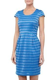 Marc New York by Andrew Marc Metallic Striped Cap-Sleeve Dress, Blue Jay