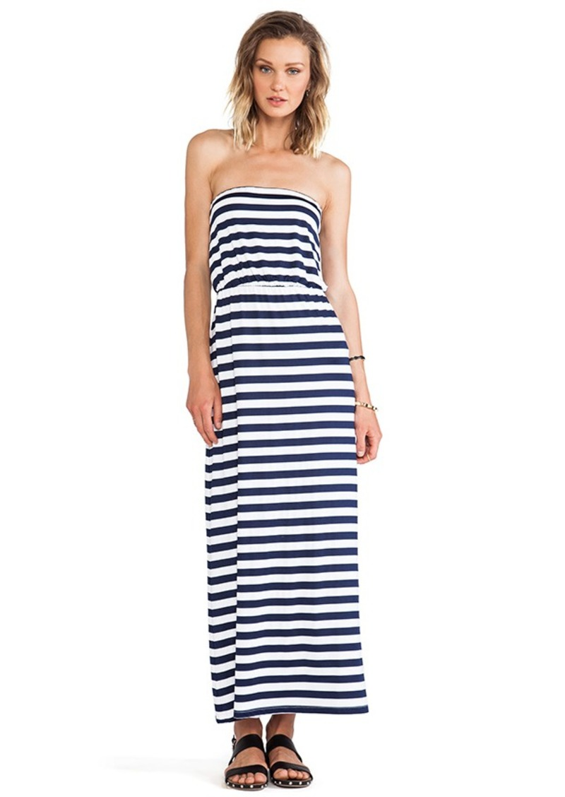 Susana Monaco Striped Blouson Strapless Dress in Navy