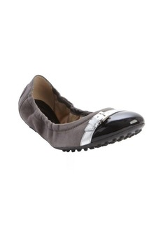Tod's grey and black suede cap toe ballet flats