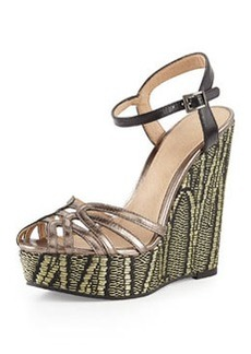 Pelle Moda Odell Metallic Wedge Sandal, Pewter