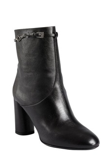 Christian Dior black grained leather chain strapped ankle boots