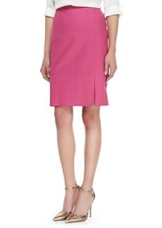 Lafayette 148 New York Leather Slit-Front Skirt, Camellia