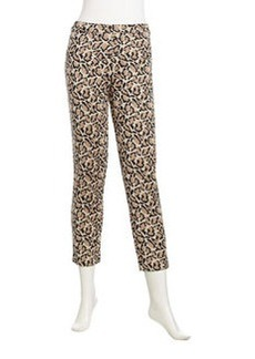 Joan Vass Leopard-Print Cropped Knit Pants