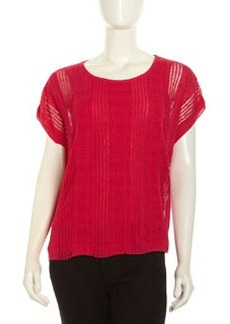 Lafayette 148 New York Short Sleeve Textured Stripe Sweater, Petunia