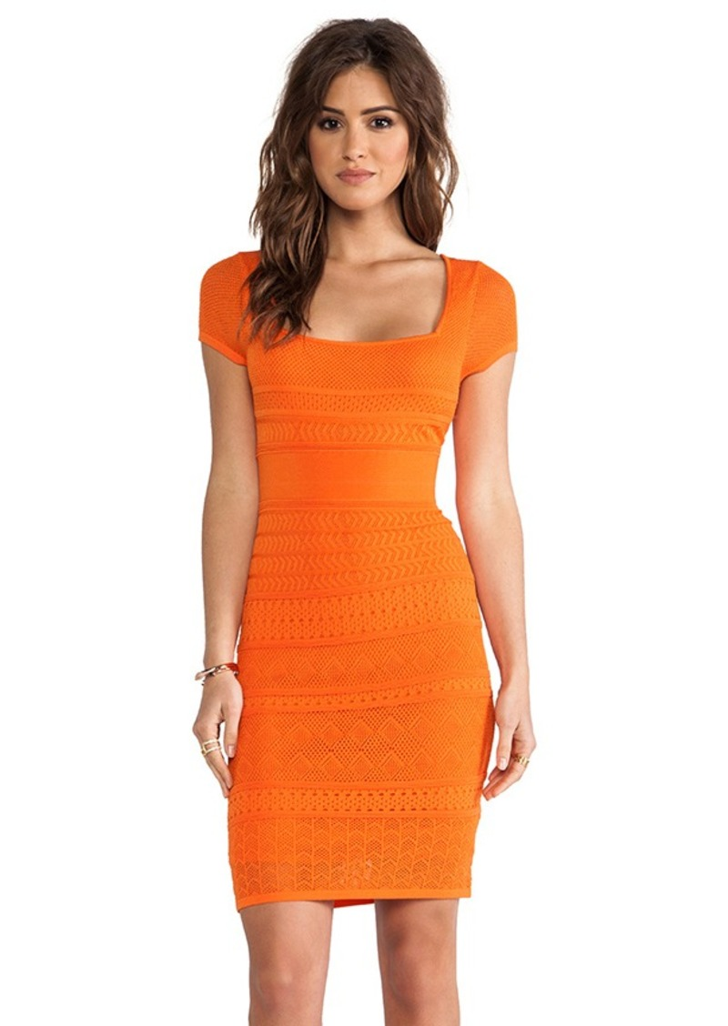 Catherine Malandrino Pointelle Shift Dress in Orange