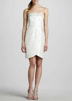 Shoshanna Strapless Faux-Wrap Jacquard Dress