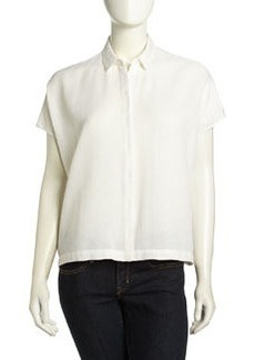 Go Silk Cap-Sleeve Twill Boxy Blouse, White