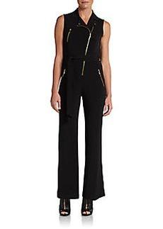 Calvin Klein Moto Zip Jersey Jumpsuit