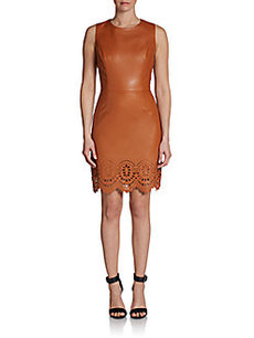 Cynthia Steffe Denni Laser-Cut Faux Leather Sheath Dress