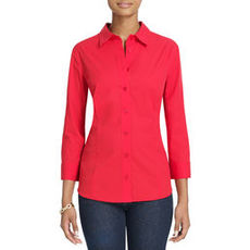 No-Iron Easy-Care Relaxed Fit 3/4-Sleeve Shirt