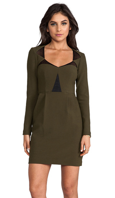 Nanette Lepore RUNWAY Ultra Ray Crepe Transporter Dress in Olive