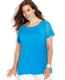 INC International Concepts Plus Size Crew-Neck Illusion-Sleeve Tee