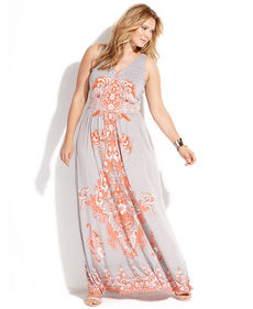INC International Concepts Plus Size Sleeveless Paisley-Print Maxi Dress