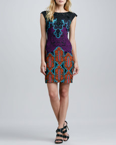Tracy Reese Beaded-Neck V-Back Printed Dress