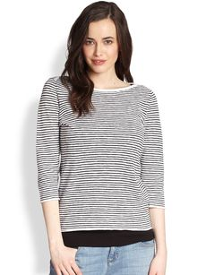 Eileen Fisher Striped Boatneck Top