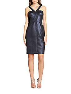 David Meister Metallic Jacquard Halter Dress