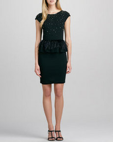 Alice + Olivia Luma Feather-Peplum Dress