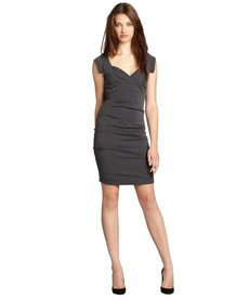 Nicole Miller grey grenada stretch twill sweetheart neckline dress