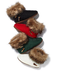 Kensie Cable Boot with Faux Fur Trim Slippers
