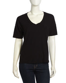 James Perse Slub-Knit Stretch Tee, Black