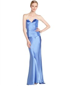 A.B.S. by Allen Schwartz ocean blue stretch strapless gown
