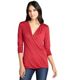 Three Dots cherry cotton draped surplice v-neck long sleeve top