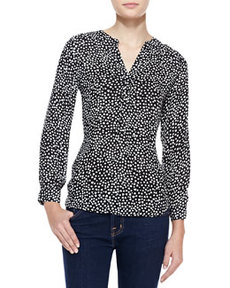 Peterson B Heart-Print Silk Top   Peterson B Heart-Print Silk Top