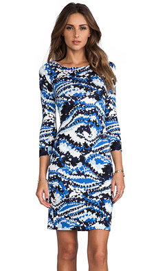 Rachel Pally Jersey 3/4 Sleeve Bianca Dress in Blue
