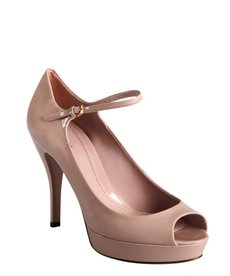 Gucci powder pink patent leather peep toe mary janes