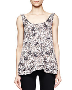 Printed Tiered-Hem Silk Tank Top   Printed Tiered-Hem Silk Tank Top