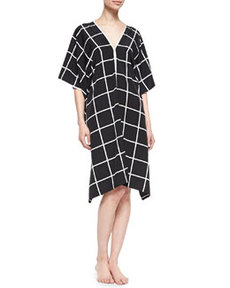 Windowpane-Print V-Neck Lounge Caftan   Windowpane-Print V-Neck Lounge Caftan