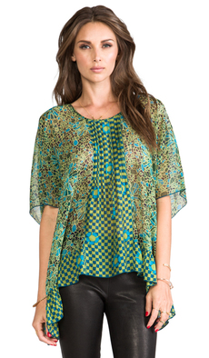 Anna Sui Pop Squares Printe Mesh and Mosaic Flora Print Crinkle Chiffon Top in Green