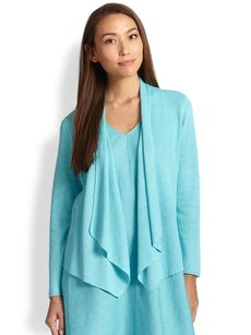 Eileen Fisher Linen Open-Front Cardigan