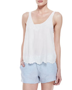 Joie Boyd Silk Embroidered Tank Top