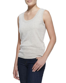 Escada Sleeveless Cashmere Top, Champagne