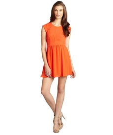 Rebecca Taylor persimmon chiffon pleated cap sleeve 'Easy' flare dress