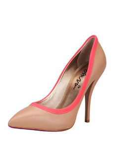Grosgrain-Trim Pointy Pump, Tan/Red   Grosgrain-Trim Pointy Pump, Tan/Red