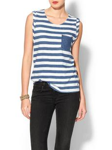 Splendid Indigo Dye Stripe Pocket Tank