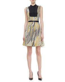 Jason Wu Print Faux Shirt Dress with Belt, Ivory/Gold