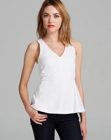 Rebecca Taylor Top - Sleeveless V Neck Poplin