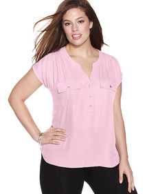 INC International Concepts Plus Size Split-Neck Cap-Sleeve Top