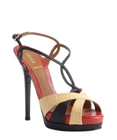 Fendi khaki and black and red raffia strappy snakeskin heel sandals