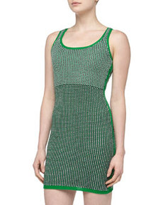 Susana Monaco Mixed Pattern Crochet Sweater Dress, Green Pepper