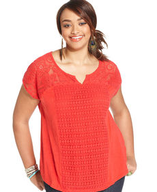 Lucky Brand Plus Size Short-Sleeve Lace Top