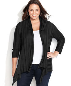 INC International Concepts Plus Size Draped Illusion-Stripe Cardigan