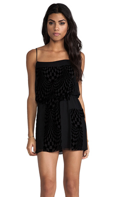 Anna Sui Wave Burnout Velvet Tank Dress in Black