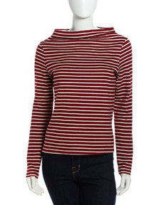 Soft Joie Wide-Collar Mock Turtleneck, Bordeaux